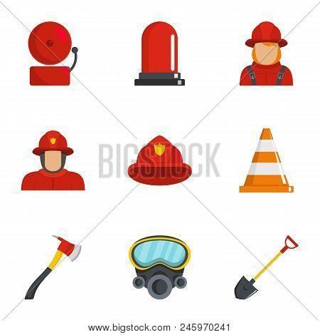 Firefighter Icons Set. Cartoon Set Of 9 Firefighter Vector Icons For Web Isolated On White Backgroun