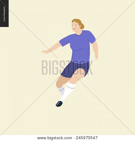Womens European Football, Soccer Player - Flat Vector Illustration Of A Running Young Woman Wearing
