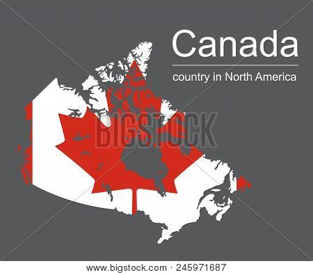 Canada Map And Flag On Black Background, Vector Illustration.