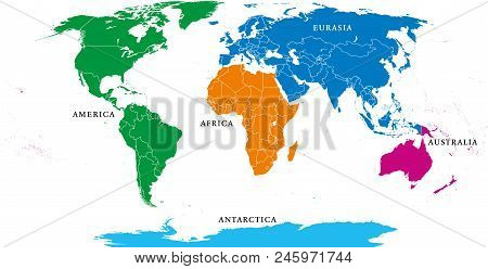 Five Continents, Political World Map, With Borders. Africa, America, Antarctica, Asia, Australia And