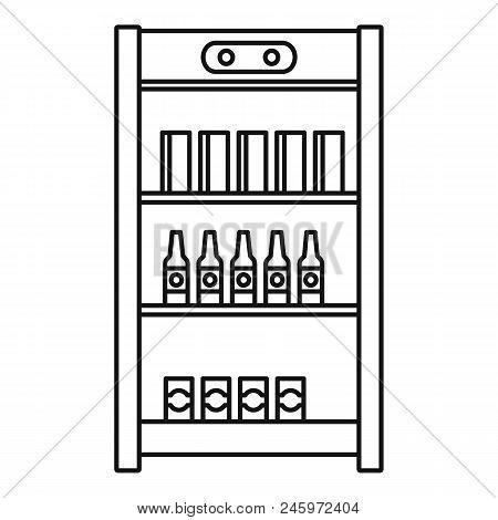 Drinks Refrigerator Icon. Outline Illustration Of Drinks Refrigerator Vector Icon For Web Design Iso