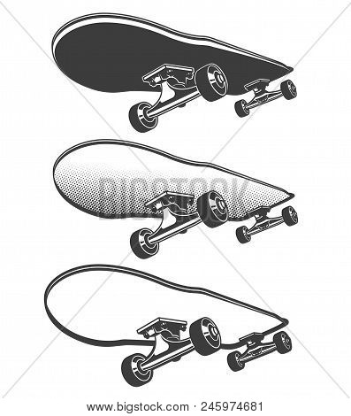 Skateboard In Motion - Retro Illustration In Stamp Style With Halftone Pop Art Shadows