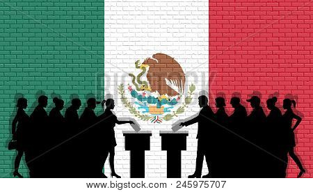 Mexican Voters Crowd Silhouette In Election With Mexico Flag Graffiti In Front Of Brick Wall. All Th