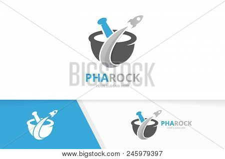 Vector Pharmacy And Rocket Logo Combination. Pounder And Airplane Symbol Or Icon. Unique Mortar And