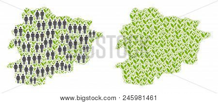People Population And Eco Andorra Map. Vector Abstraction Of Andorra Map Made Of Randomized People C