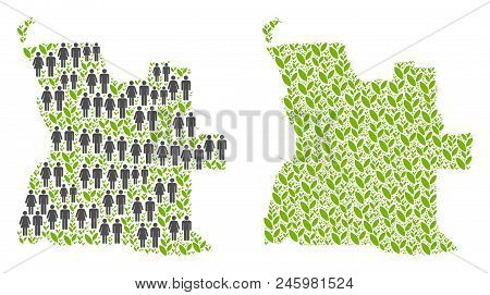 People Population And Eco Angola Map. Vector Composition Of Angola Map Made Of Scattered People And