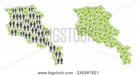 People Population And Ecology Armenia Map. Vector Pattern Of Armenia Map Formed Of Randomized Crowd