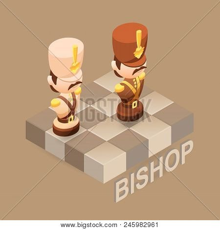 Isometric Cartoon Chess Pieces Bishop. Black And White. Cute Chessman And Fragment Of Checkerboard I