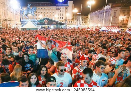 Zagreb, Croatia - June 16th, 2018 : Croatian Football Fans Celebrate Win Of Croatia Football Team Vs