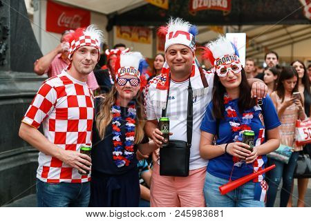 Zagreb, Croatia - June 16th, 2018 : Croatian Football Fans On Ban Jelacic Square In Zagreb, Croatia.