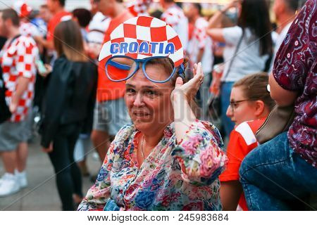 Zagreb, Croatia - June 16th, 2018 : Close Up Of A Woman Croatian Football Fan On Ban Jelacic Square
