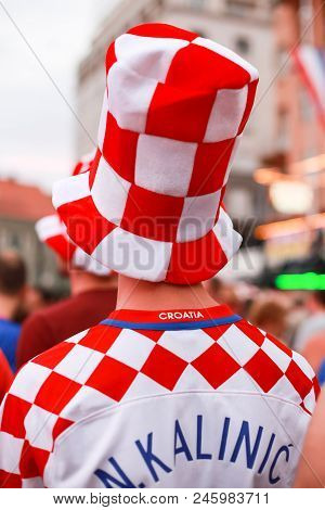 Zagreb, Croatia - June 16th, 2018 : Rear View Of Croatian Football Fan With Nikola Kalinic Football