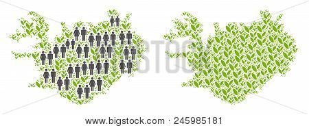 People Population And Floral Iceland Map. Vector Collage Of Iceland Map Composed Of Random Person An