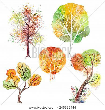 Set Of Watercolor Hand Drawn Orange, Yellow, Green Autumn Trees, Elements For Yours Landscape Design