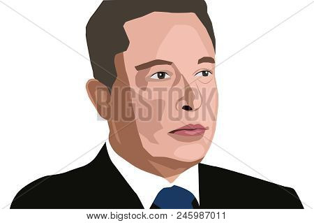 19 June, 2018: Famous Founder, Ceo And Entrepreneur Elon Musk Vector Portrait.