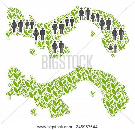 People Population And Ecology Panama Map. Vector Concept Of Panama Map Composed Of Randomized Men An