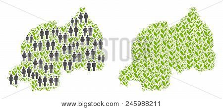 People Population And Ecology Rwanda Map. Vector Concept Of Rwanda Map Composed Of Scattered Male An