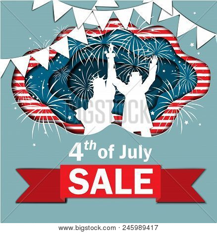 Independence Day Sale. Funny Paper Cut Banner For Independence Day July 4 Usa With Statue Of Liberty