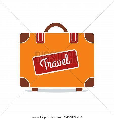 Travel Suitacase Icon Isolated On Whute Background. Orange Suitacase. Vector Stock
