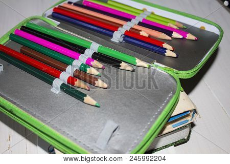 Colour Pencils Isolated On White Background. Many Different Coloured Pencils. Coloured Drawing Penci