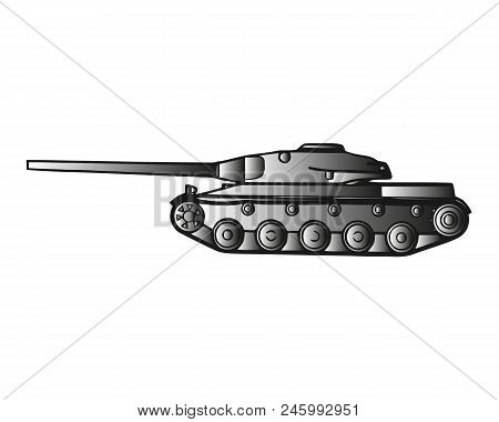 Military Tank Isolated On White. Armoured Fighting Vehicle Designed For Front-line Combat, With Heav