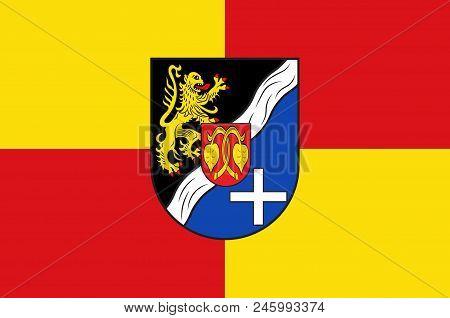 Flag Of Rhein-pfalz-kreis Is A District In The East Of Rhineland-palatinate, Germany. Vector Illustr