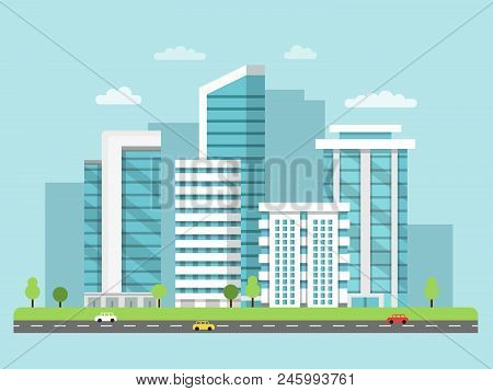 Background Illustration Of Urban Landscape With Modern Buildings. Building And Urban Cityscape, City