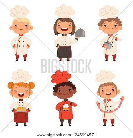 Kids Characters Prepare Food. Character Child Chef Profession, Waiter And Baker, Confectioner Illust