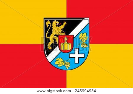 Flag Of Suedliche Weinstrasse Is A District In The South Of Rhineland-palatinate, Germany. Vector Il