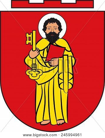 Coat Of Arms Of Trier Is A City In Germany On The Banks Of The Moselle. Vector Illustration
