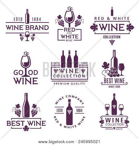 Logotypes Or Badges Of Wine Brands. Emblem Beverage Winery, Branding Badge Company. Vector Illustrat