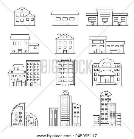 House And Business Buildings. Vector Linear Pictures Of Urban Construction. Linear Construction Exte