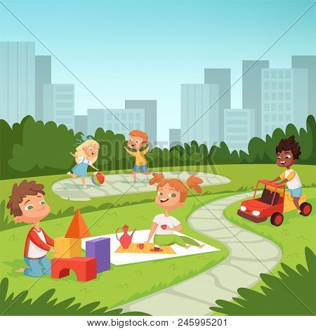 Childrens Playing In Educational Games Outdoor . Various Equipment For Kids. Vector Childhood Summer