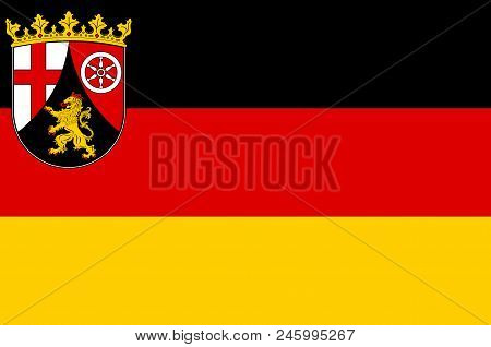 Flag Of Rhineland-palatinate Is One Of The 16 States Of The Federal Republic Of Germany. Vector Illu
