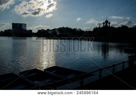 Landscape With A Large Ostankino Pond, Summer Evening, Pond, Water