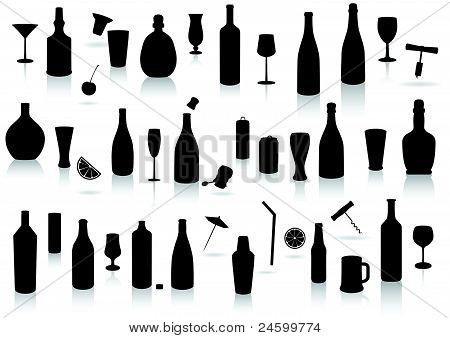 Party drinks silhouette set