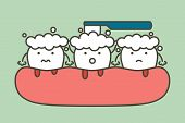 brushing teeth with bleeding on gum and tooth, gingivitis or scurvy concept - dental cartoon vector flat style cute character for design poster