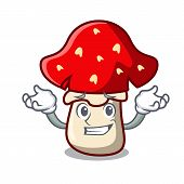 Grinning amanita mushroom character cartoon vector illustration poster