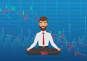Young man trader meditating under falling crypto or stock market exchange chart. Business trader, finance stock market graph concept. Falling Stock Market poster