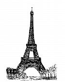 eiffel tower isolated on the white background poster