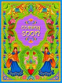 illustration of colorful Coming Soon banner in truck art kitsch style of India poster