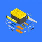 Vector isometric construction tools around toolcase concept. House remodeling equipment in isometry. 3D repair and building instruments. Helmet, pliers, axe, spanner and helmet objects illustration poster