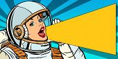 female astronaut is calling for a sale. Pop art retro vector illustration kitsch vintage drawing poster
