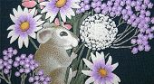 *Soft Focus.* This little mouse is trying to hide in the spring flowers. This is a painting on soft material. poster