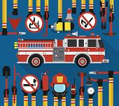 Fire Fighting infographic flat design with fire engine.Vector illustration poster
