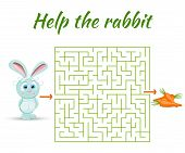 Rectangular maze riddle game, find way your path. Help the rabbit. Labyrinth rebus for kids vector illustration poster
