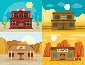 Saloon pub wild west banner concept set. Flat illustration of 4 Saloon pub wild west vector banner concepts for web poster