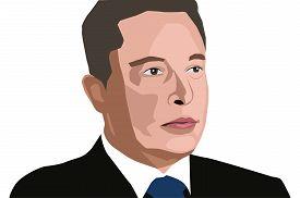19 June, 2018: Famous Founder, Ceo And Entrepreneur Elon Musk Vector Portrait.