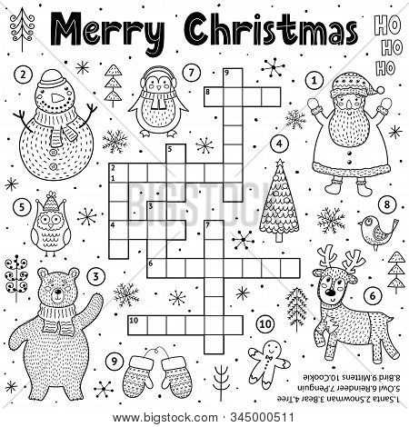Merry Christmas Crossword Game For Kids. Black And White Educational Activity Page For Coloring