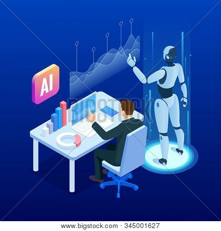 Isometric Man And Woman With Robot Artificial Intelligence Working , Robot Working With Virtual Disp